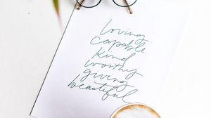 Превью обои бумага, надпись, текст, чашка, очки