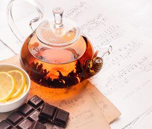 Превью обои чай, чайник, шоколад, эстетика