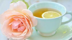 Превью обои чай, чашка, лимон, роза