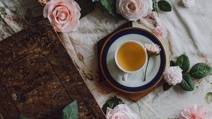 Превью обои чай, чашка, цветы, книга, натюрморт