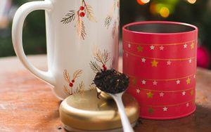 Превью обои чай, чашки, ложка, напиток