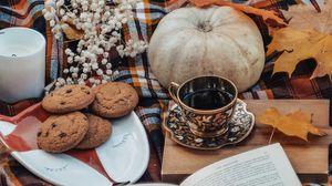 Превью обои чай, книга, осень, печенье, листья, тыква