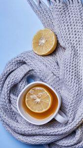 Превью обои чай, лимон, чашка, шарф, уют, эстетика