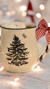 Превью обои чашка, гирлянда, новый год, бант