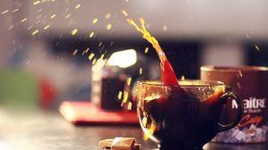 Превью обои чай, напиток, шоколад, долька