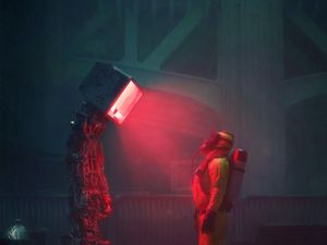 Превью обои человек, костюм, защита, робот, экран, апокалипсис