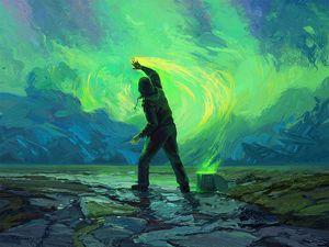 Превью обои человек, краска, небо, красить, яркий