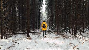 Превью обои человек, лес, снег, зима, деревья
