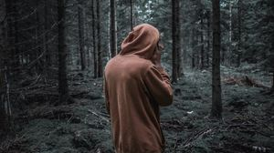 Превью обои человек, лес, толстовка, прогулка