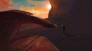 Превью обои человек, магия, дракон, фэнтези, арт