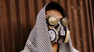 Превью обои человек, маска, стимпанк, стиль