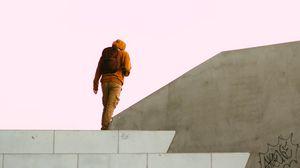Превью обои человек, одиночество, здание, минимализм