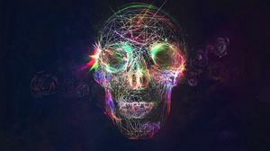 Превью обои череп, абстракция, яркий, фон