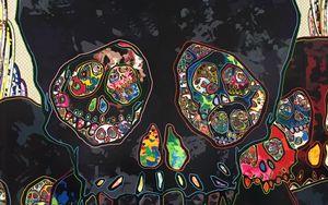 Превью обои череп, арт, черепа, разноцветный