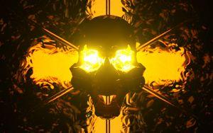 Превью обои череп, арт, подсветка, свет, темный