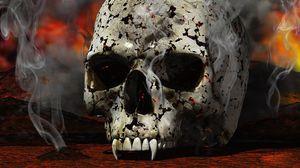 Превью обои череп, черный, белый, красный, дым