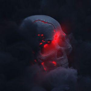 Превью обои череп, дым, облако, свечение, 3d, темный