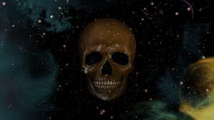 Превью обои череп, небо, точки, звезды, рисунок