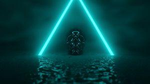 Превью обои череп, неон, треугольник, свечение, темный