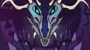 Превью обои череп, рога, руны, арт, фиолетовый, страшный
