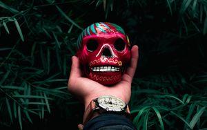 Превью обои череп, рука, арт, часы