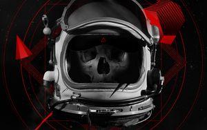 Превью обои череп, шлем, космонавт, арт