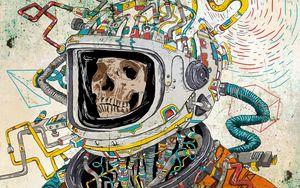 Превью обои череп, скафандр, арт, космонавт, сюрреалистичный
