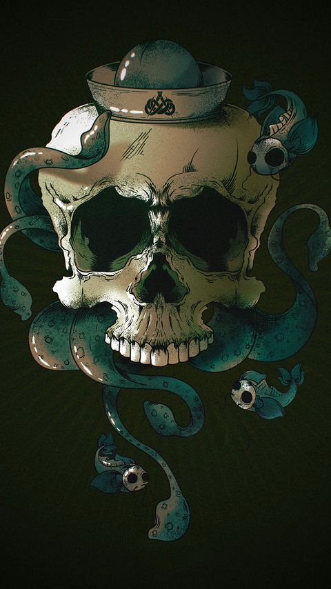 480x854 Обои череп, скелет, рыбы, арт