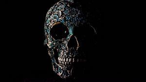 Превью обои череп, темный, узоры, кости