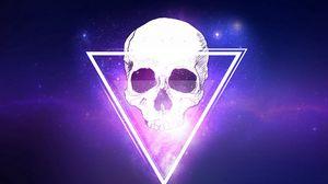 Превью обои череп, треугольник, космос