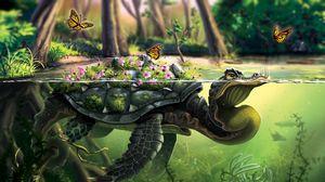 Превью обои черепаха, бабочки, арт, вода