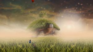 Превью обои черепаха, фотошоп, ребенок, велосипед, поле, трава