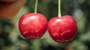 Превью обои черешня, вишня, ягода, фрукт, рука