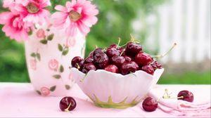 Превью обои черешня, вишня, блюдо, цветы
