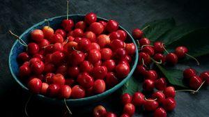 Превью обои черешня, вишня, ягоды, тарелка