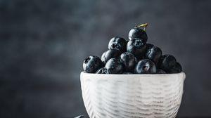 Превью обои черника, ягоды, миска, свежий, спелый