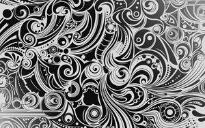 Превью обои черный, белый, рисунок, форма, узоры
