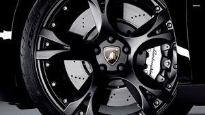 Превью обои черный, спортивные машины, ламборджини, эмблема