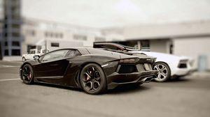 Превью обои черный, стильный, авто, ламборджини