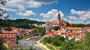 Превью обои чески-крумлов, чехия, река, влтава, здания, панорама