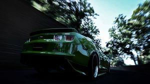 Превью обои chevrolet, camaro, зеленый, задний бампер, скорость, размытие
