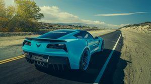 Превью обои chevrolet, corvette, c7, stingray, forgiato, голубой, вид сзади
