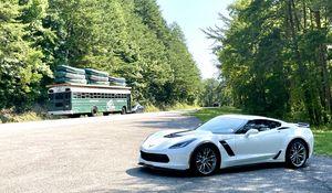 Превью обои chevrolet corvette, chevrolet, автомобиль, белый