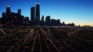 Превью обои чикаго, город, ночь, свет города