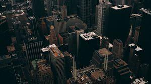 Превью обои чикаго, небоскребы, вид сверху