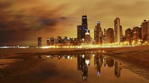 Превью обои чикаго, огни города, вечер, пляж, здания, небоскребы, hdr