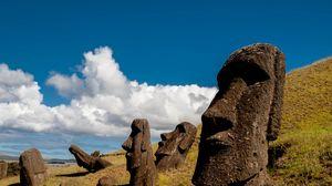 Превью обои моаи, статуя, идол, остров пасхи, каменный