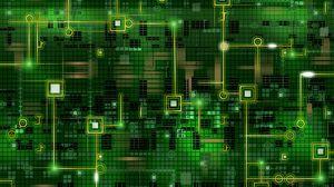 Превью обои чип, сетка, фон, темный, зеленый, линии, схема