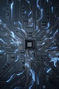 Превью обои чип, схема, процессор, транзисторы, дорожки, свечение