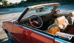 Превью обои chrysler, автомобиль, красный, руль, салон, ретро